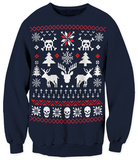Crewneck Sweater - Skull X-Mas Ugly Sweater T-Shirts