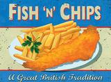 Fish & Chips Blechschild von Martin Wiscombe