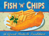 Fish & Chips Tin Sign by Martin Wiscombe