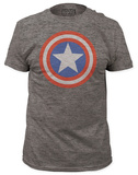 Captain America - Shield on Heather (slim fit) Shirt