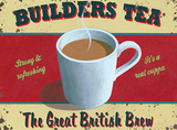 Builders tea Tin Sign by Martin Wiscombe