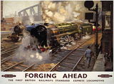 British Railways Forging Ahead Cartel de chapa