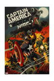 Captain America and Black Widow 640 Cover: Captain America, Black Widow, Ghost Rider, Black Knight Print by Francesco Francavilla