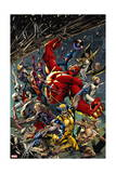 Age of Ultron 5 Cover: Red Hulk, Captain America, Storm, Iron Man, Moon Knight, Hawkey, Wolverine Art by Bryan Hitch