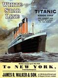 White Star Line Titanic - to New York Blikkskilt
