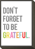 Don't Forget to be Grateful Framed Print Mount by Rebecca Peragine