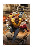 Mighty Avengers 1 Cover: Cage, Like, White Tiger, Spider-Man, Power Man, Spectrum Art by Greg Land