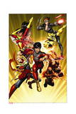 Avengers 11 Cover: Shang-Chi, Sunspot, Captain Marvel, Black Widow, Cannonball, Spider Woman Posters by Dustin Weaver