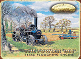 The Fowler 'BBI' Ploughing Engine Tin Sign by Trevor Mitchell