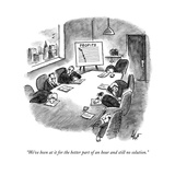 """""""We've been at it for the better part of an hour and still no solution."""" - New Yorker Cartoon Premium Giclee Print by Frank Cotham"""