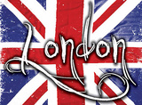 London on Union Jack Blikskilt