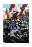 Avengers Assemble 15Au Cover: Captain Britain, Captain Marvel, Ultron Prints by Nic Klein