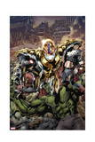 Age of Ultron 1 Cover: Ultron, Captain America, Hulk, Iron Man, Thing, Iron Fist, Spider-Man Art by Bryan Hitch