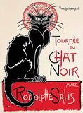 Tournée chat noir Plaque en métal