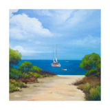 Sailboat on Coast II Premium Giclee Print by Vivien Rhyan