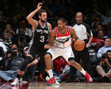 Feb 5, 2014, San Antonio Spurs vs Washington Wizards - Trevor Ariza, Marco Belinelli Photographic Print by Ned Dishman