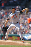 Apr 6, 2014, Baltimore Orioles vs Detroit Tigers - Chris Tillman Photographic Print by John Grieshop