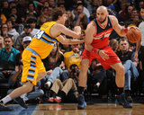 Mar 23, 2014, Washington Wizards vs Denver Nuggets - Marcin Gortat, Jan Vesely Photographic Print by Bart Young
