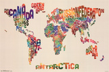 World Map - Text Plakaty