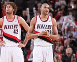 Mar 1, 2014, Denver Nuggets vs Portland Trail Blazers - Robin Lopez, Nicolas Batum Photographic Print by Sam Forencich