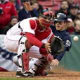 Apr 2, 2014: Milwaukee Brewers vs Boston Red Sox - Scooter Gennett, A.J. Pierzynski Photographic Print by Winslow Townson