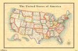 Map - USA 13 Print