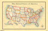 Map - USA 13 Poster
