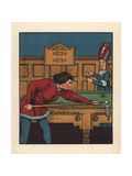 Medieval Man Playing a Game of Snooker Giclee Print by J.e. Rogers