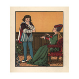 Medieval Woman Seated in a Gothic Chair Playing Cat's Cradle Giclee Print by J.e. Rogers