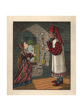 Medieval Tutor Teaching Young Woman How to Play Cup and Ball Giclee Print by J.e. Rogers