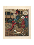 Medieval Man Riding a Wooden Velocipede on a Cobbled Street Giclee Print by J.e. Rogers