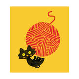 Happiness Cat and Yarn Giclee Print by Budi Kwan