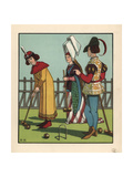 Medieval Men and Woman Playing Croquet with Mallet and Hoops Giclee Print by J.e. Rogers
