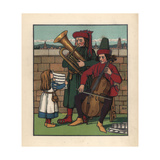 Young Girl Holding Up a Musical Score for Two Medieval Musicians Giclee Print by J.e. Rogers