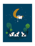 Over the Moon Giclee Print by Budi Kwan
