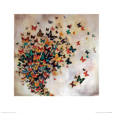 Butterflies on Pale Ochre Posters by Lily Greenwood