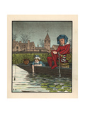 Medieval Man Fishing from a Boat in a Waterlily Pond Giclee Print by J.e. Rogers