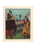 Medieval Man and Woman Playing a Game of Battledore Giclee Print by J.e. Rogers