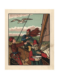 Medieval Sailors on a Sailboat Giclee Print by J.e. Rogers