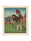 Medieval Youth at Bat in a Game of Cricket on a Green Giclee Print by J.e. Rogers