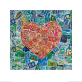 Stamp Hearts Red Posters by Howard Shooter
