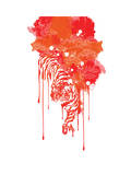 Painted Tiger Blood Red Giclee Print by Budi Kwan