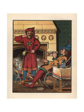 Medieval Men Smoking and Drinking in Front of the Parlor Fire Giclee Print by J.e. Rogers