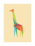Fractal Geometric Giraffe Giclee Print by Budi Kwan