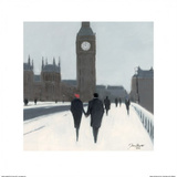Big Ben, Red Beret and Snow Prints by Jon Barker