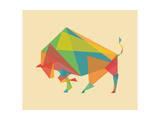 Fractal Geometric Bull Giclee Print by Budi Kwan