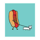 Hot Dog Walking Puppy Giclee Print by Budi Kwan