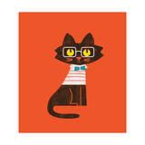 Preppy Cat Giclee Print by Budi Kwan
