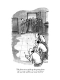 """The first one to pick up the penny from the wet tile will be our next C.E - New Yorker Cartoon Premium Giclee Print by Corey Pandolph"