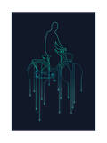 Cycling in the Rain Giclee Print by Budi Kwan